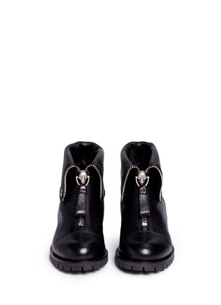 Alexander McQueen - Skull zip grainy leather boots