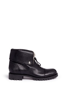 Alexander McQueen Skull zip grainy leather boots