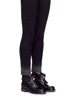 Alexander McQueenSkull zip grainy leather boots