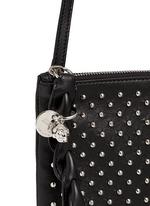 Skull charm stud leather flat crossbody bag