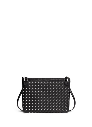 Back View - Click To Enlarge - Alexander McQueen - Skull charm stud leather flat crossbody bag