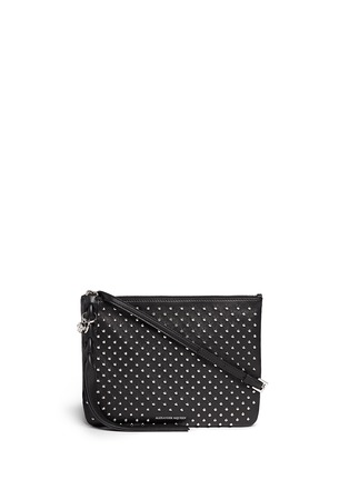 Main View - Click To Enlarge - Alexander McQueen - Skull charm stud leather flat crossbody bag