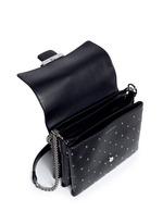 Twin skull stud leather chain satchel