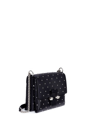 Figure View - Click To Enlarge - Alexander McQueen - Twin skull stud leather chain satchel