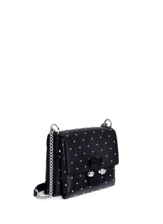 Alexander McQueen Twin skull stud leather chain satchel