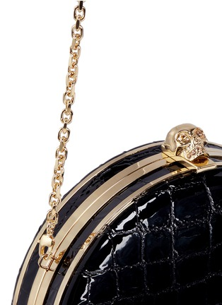 Alexander McQueen - Skull croc embossed patent leather round clutch