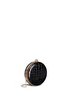 Alexander McQueen Skull croc embossed patent leather round clutch