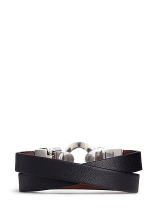 Alexander McQueen - Horsebit twin skull double wrap leather bracelet