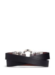 Alexander McQueenHorsebit twin skull double wrap leather bracelet