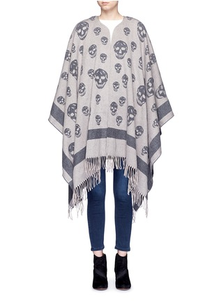Main View - Click To Enlarge - Alexander McQueen - Skull wool-cashmere knit cape