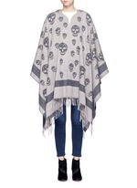 Skull wool-cashmere knit cape