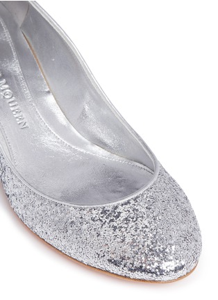 Detail View - Click To Enlarge - Alexander McQueen - Floating skull heel metallic glitter pumps