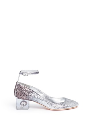 Main View - Click To Enlarge - Alexander McQueen - Floating skull heel metallic glitter pumps