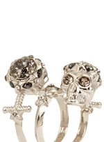 Star dust twin skull spiral ring