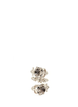 Main View - Click To Enlarge - Alexander McQueen - Star dust twin skull spiral ring