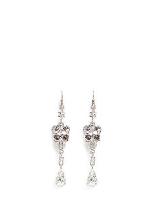 Main View - Click To Enlarge - Alexander McQueen - Swarovski crystal royal skull pendant drop earrings