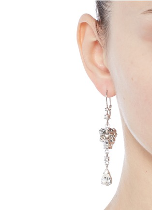 Figure View - Click To Enlarge - Alexander McQueen - Swarovski crystal royal skull pendant drop earrings