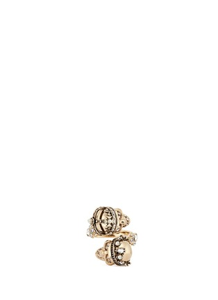Main View - Click To Enlarge - Alexander McQueen - 'Kings & Queens' Swarovski crystal skull ring