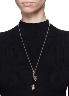 Alexander McQueen'Kings & Queens' double skull Swarovski crystal necklace
