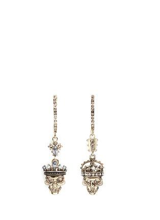 Main View - Click To Enlarge - Alexander McQueen - 'Kings & Queens' Swarovski crystal skull earrings