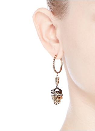 Figure View - Click To Enlarge - Alexander McQueen - 'Kings & Queens' Swarovski crystal skull earrings