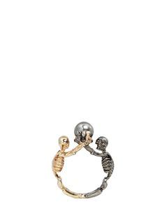 ALEXANDER MCQUEENSwarovski pearl double skeleton ring