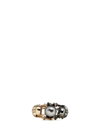 Figure View - Click To Enlarge - Alexander McQueen - Swarovski pearl double skeleton ring
