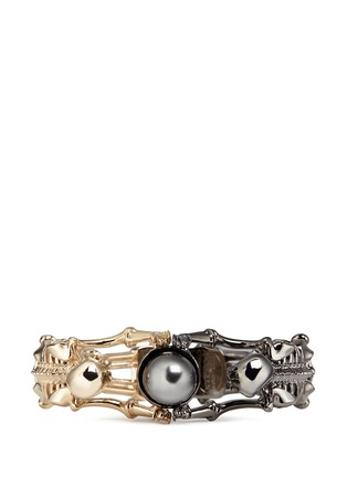 Figure View - Click To Enlarge - Alexander McQueen - Swarovski pearl double skeleton bracelet