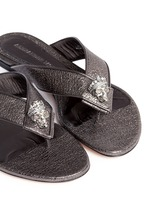 Crystal crown skull metallic leather flip flops