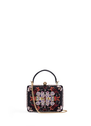 Main View - Click To Enlarge - Alexander McQueen - 'Obsession' sequin embroidered leather handle satin box clutch