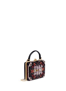 Alexander McQueen 'Obsession' sequin embroidered leather handle satin box clutch