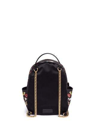 Detail View - Click To Enlarge - Alexander McQueen - Small obsession print satin chain backpack