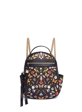 Main View - Click To Enlarge - Alexander McQueen - Small obsession print satin chain backpack