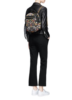 Alexander McQueenSmall obsession print satin chain backpack