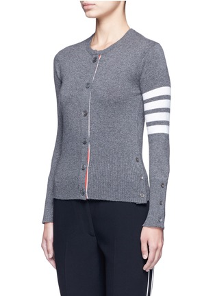 Front View - Click To Enlarge - Thom Browne - Stripe sleeve cashmere cardigan