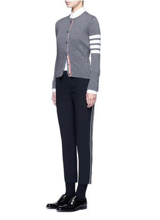 Figure View - Click To Enlarge - Thom Browne - Stripe sleeve cashmere cardigan