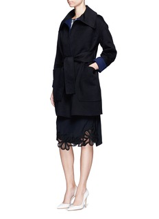Victoria Beckham Cashmere tie waist dropped shoulder coat