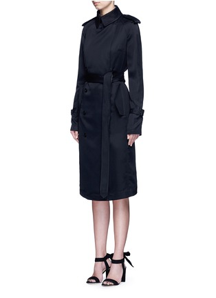 Front View - Click To Enlarge - Victoria Beckham - Gabardine drape fluid trench coat