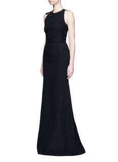 Victoria Beckham Guipure lace back double crepe gown