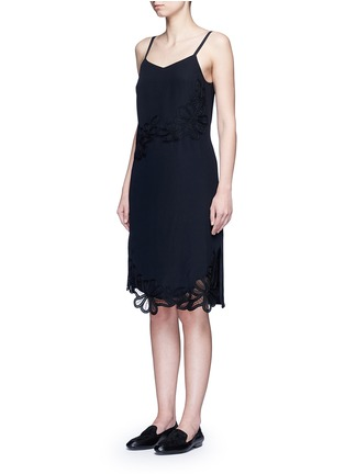 Front View - Click To Enlarge - Victoria Beckham - Floral lace silk crepe de Chine dress