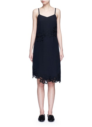 Main View - Click To Enlarge - Victoria Beckham - Floral lace silk crepe de Chine dress