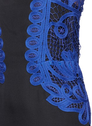 Detail View - Click To Enlarge - Victoria Beckham - Guipure lace silk crepe kick midi dress