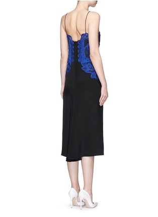 Back View - Click To Enlarge - Victoria Beckham - Guipure lace silk crepe kick midi dress