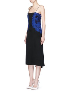 Victoria BeckhamGuipure lace silk crepe kick midi dress