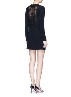 Victoria Beckham Geometric floral lace back long sleeve dress