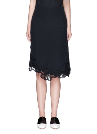 Main View - Click To Enlarge - Victoria Beckham - Guipure lace side split crepe skirt