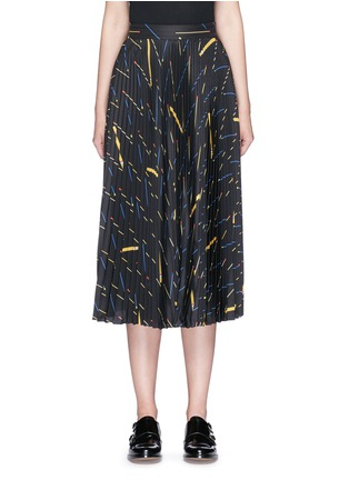 Main View - Click To Enlarge - Victoria Beckham - Matchstick print sunray pleat crepe midi skirt