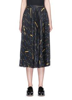 Victoria BeckhamMatchstick print sunray pleat crepe midi skirt