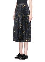 Matchstick print sunray pleat crepe midi skirt