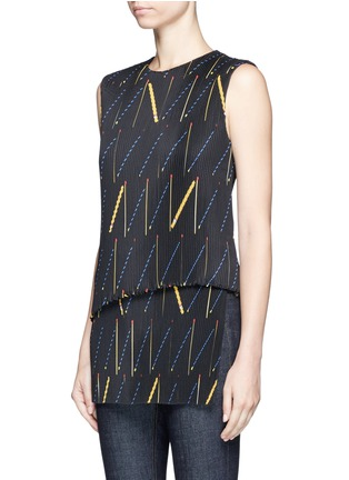 Front View - Click To Enlarge - Victoria Beckham - Matchstick print plissé pleat sleeveless top